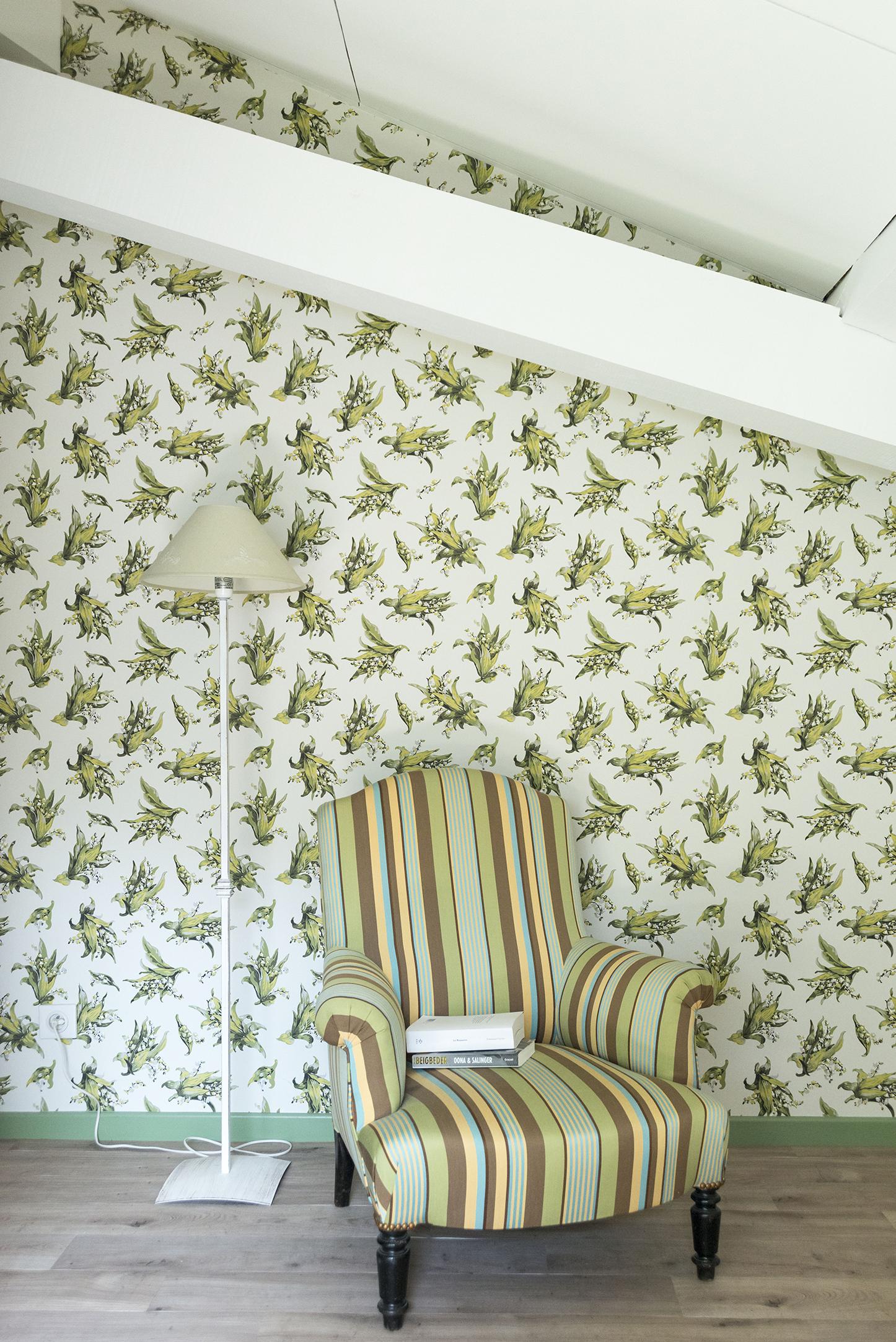 Lala Architectes_Landes_Rénovation_Chambre_Vert_Charpente peinte