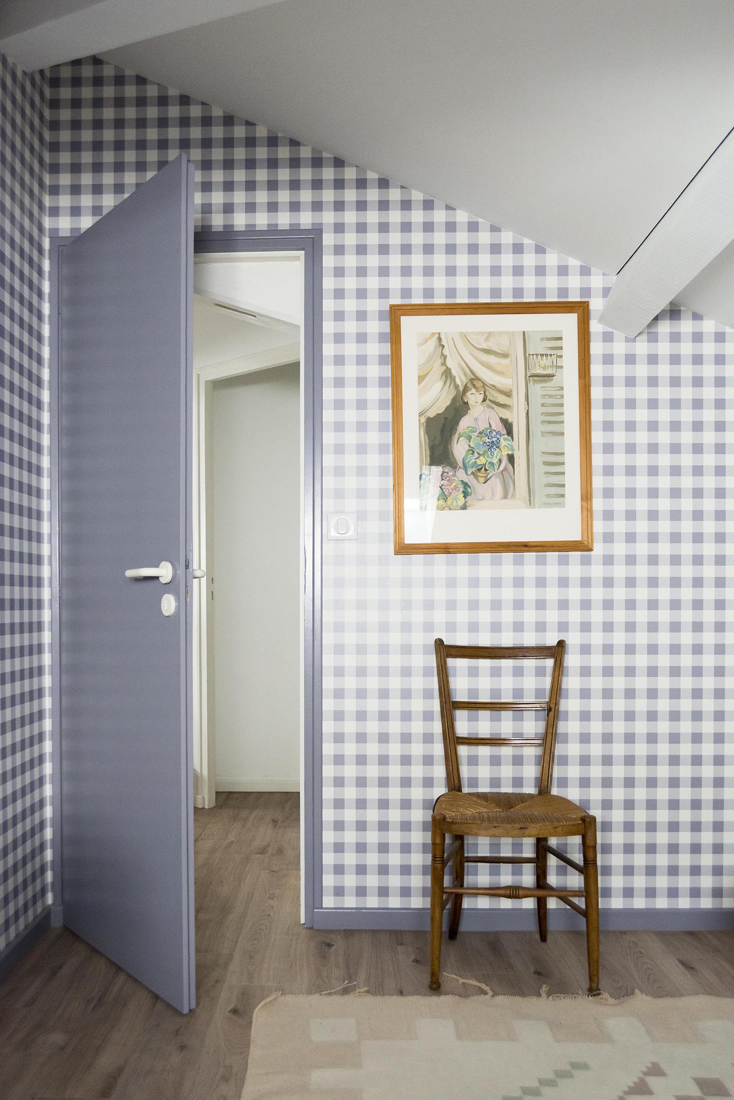Lala Architectes_Landes_Rénovation_Papier Peint_Vichy_Lavande