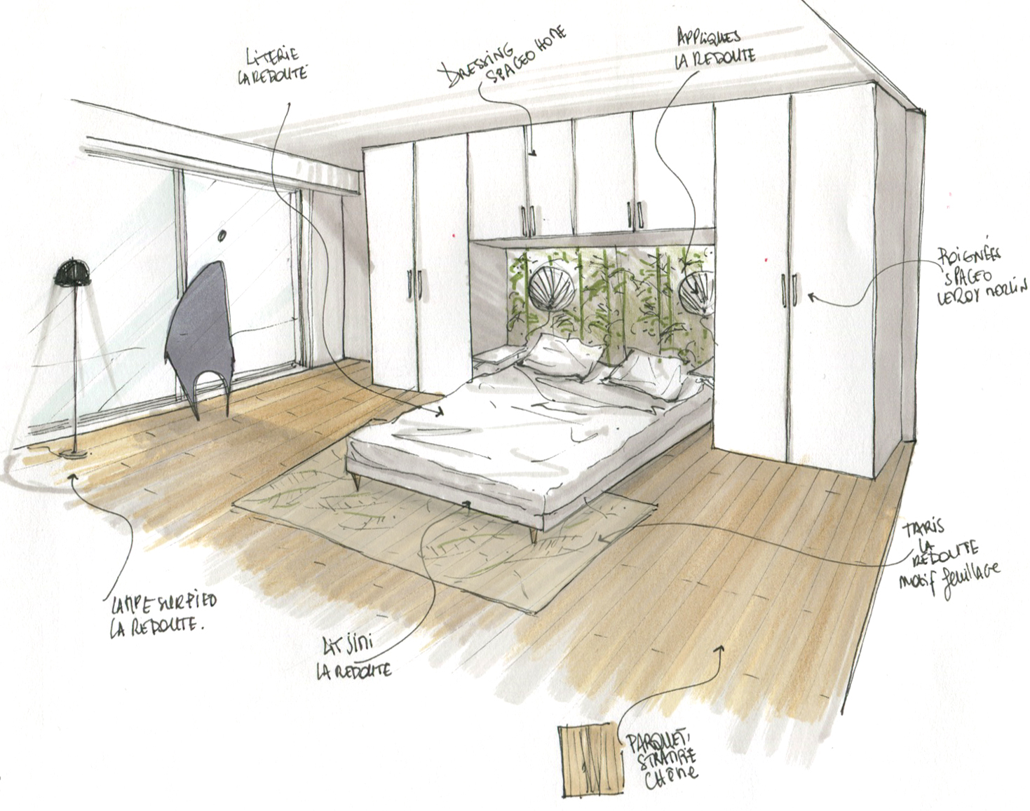 Lala Architectes_Rénovation_Appartement_ Bordeaux_Croquis d'Ambiance_ Chambre