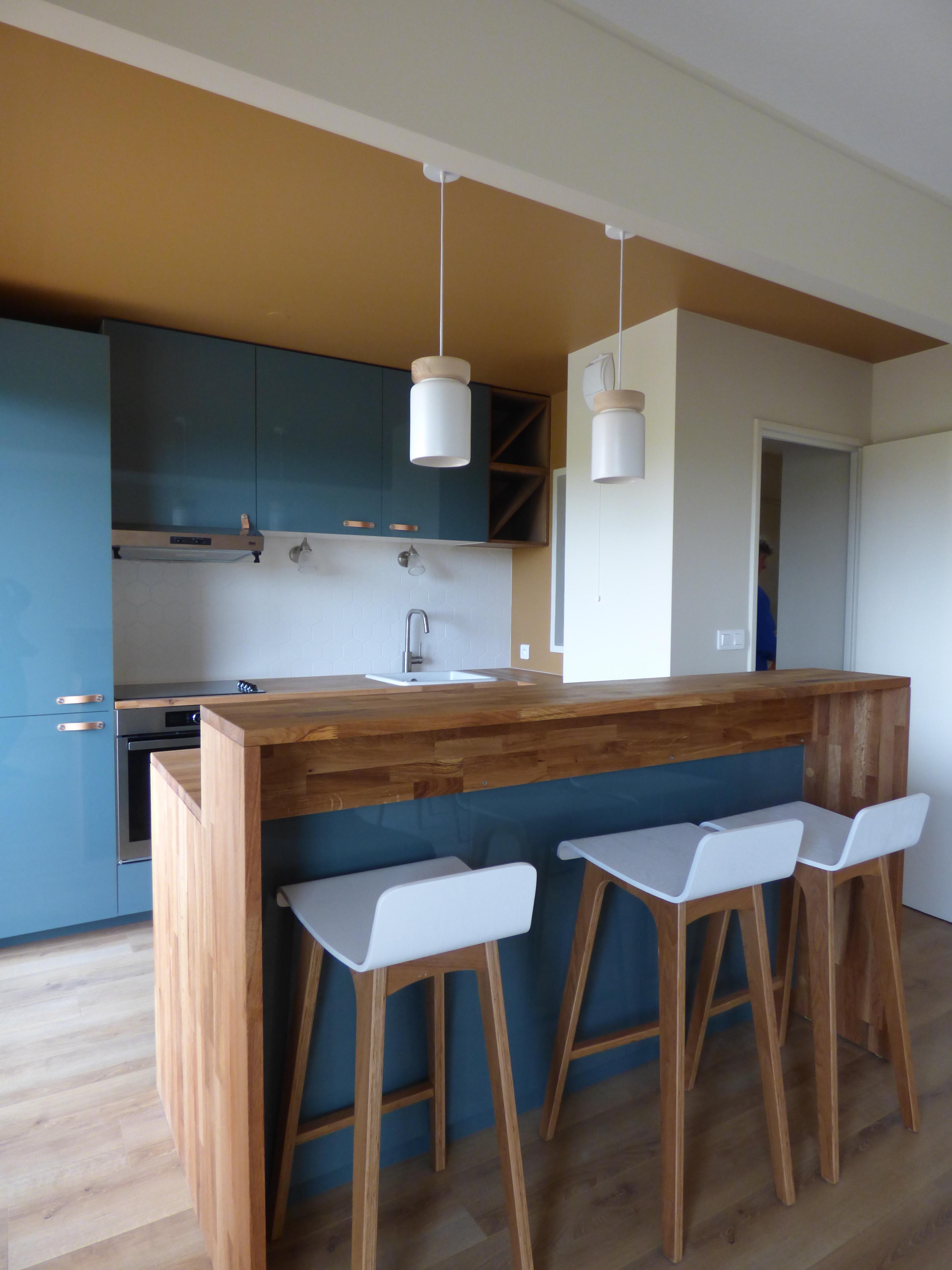 Lala Architectes_Rénovation_Appartement_ Bordeaux_Cuisine Ouverte_ Ilot