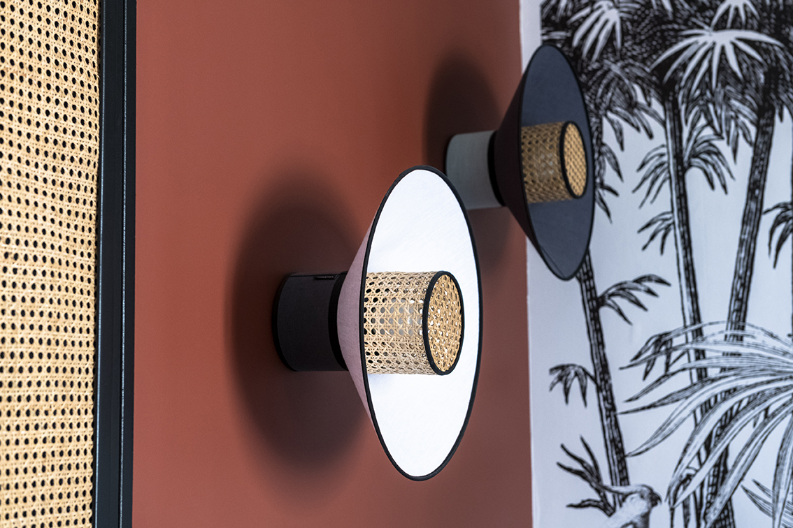 Rénovation_Echoppe_Lala-architectes_Bordeaux_Chambre_mur_terracotta_papierpeint_canage_applique_marketset