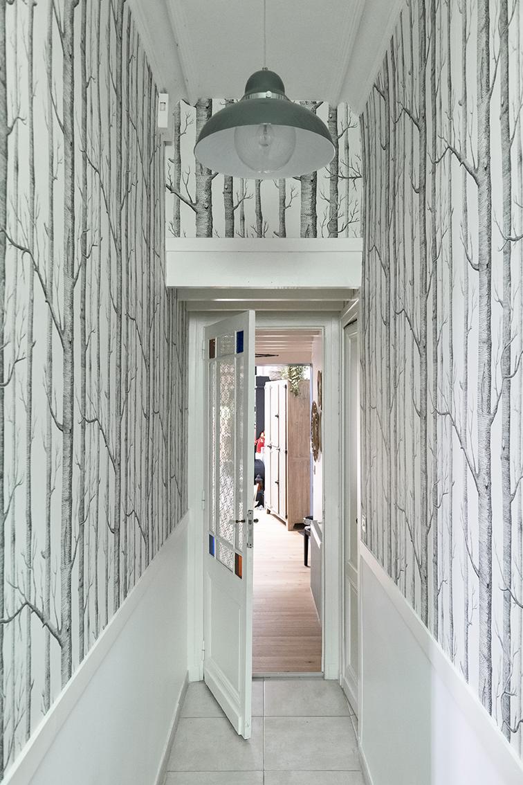 Rénovation_Echoppe_Lala-architectes_bordeaux_couloir_papierpeintwoodscole&son