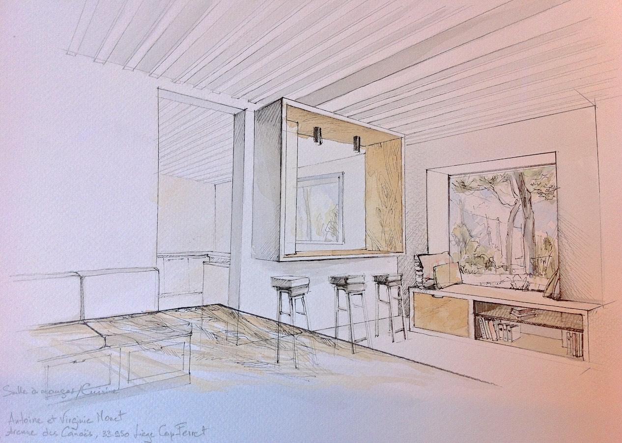 Lala Architectes-Rénovation maison-Bassin d'Arcachon-Niche sur cuisine